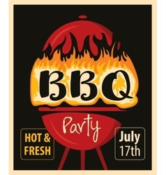 BBQ grill in the fire vector image vector image