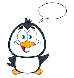 penguin character waving with speech bubble vector image vector image