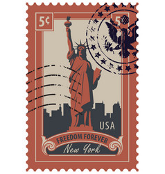 statue of liberty in background of new york city vector image