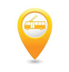 trolleybus icon yellow map pointer vector image