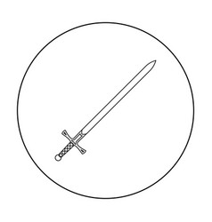 two-handed sword icon outline single weapon icon vector image