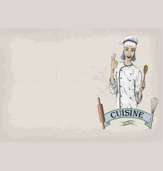 woman caucasian young cook chef worker in chefs vector image vector image