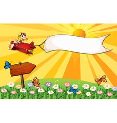 A monkey on a plane with a banner and a signboard vector