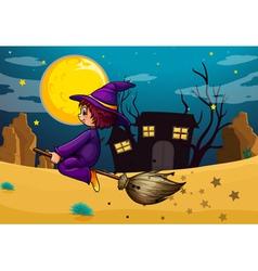A witch riding in her broom vector image