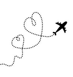 Airplane flying two dash line heart loop vector