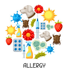 allergy background with allergens and symbols vector image