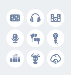 audio icons set earbuds microphones speakers vector image
