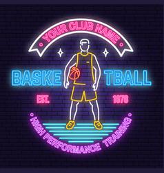 Basketball club neon design concept for vector