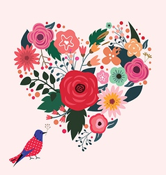 Beautiful floral heart and blue bird vector