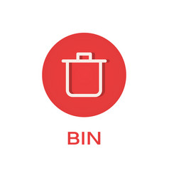 Bin round flat icon remove and trash symbol vector