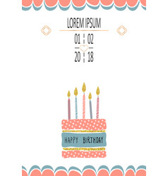 Birthday greeting cards design with handdrown cake vector