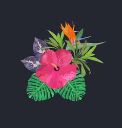 Bouquet with tropical plants set with isolated vector