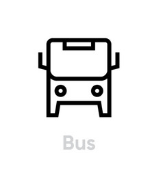 bus icon editable line city transport vector image