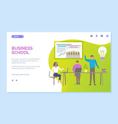 business school presenter with information board vector image