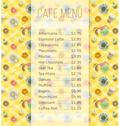 Cafe menu template with food and drink prices vector image
