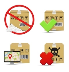 Cardboard boxes icons design vector image