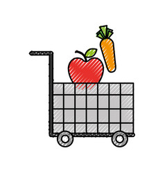 cart shopping food supermarket vegetable and fruit vector image