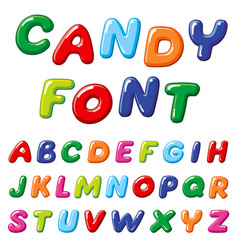 Cartoon candy kids font rainbow funny vector