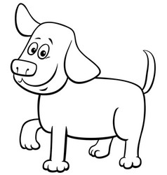 cartoon puppy character coloring book page vector image