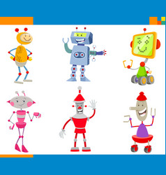 cartoon robots and droids characters set vector image