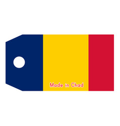 Chad flag on price tag with word vector