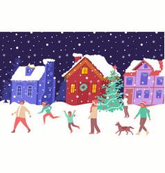 christmas house lights composition vector image