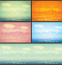 City in retro posters vector