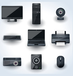 Computers and peripherals icons vector image vector image