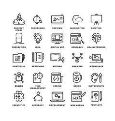 Creative process line icons vector