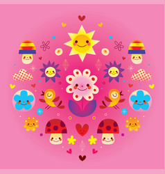Cute cartoon mushrooms flowers hearts and birds vector