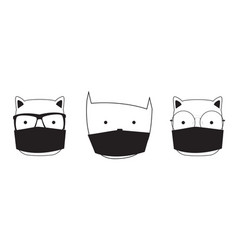cute hand drawn cat with medical mask vector image