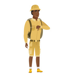 Disappointed african traveler with thumb down vector
