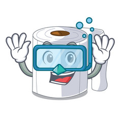 diving character toilet paper rolled on wall vector image