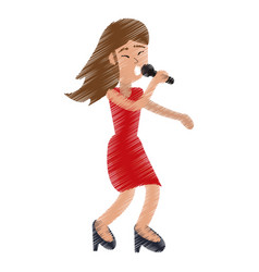 Drawing funny girl dance happiness vector