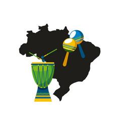 Drum instrument of brazil vector