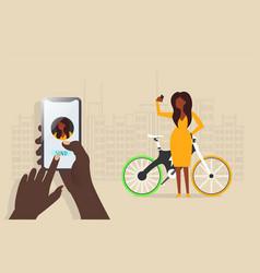 E-bike electric bike hand and women take selfie vector