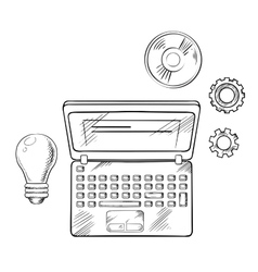 E-learning concept with laptop and idea vector