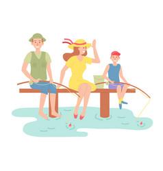 family outdoor recreational activities happy vector image