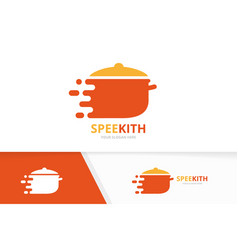 fast pot logo combination speed kitchen vector image