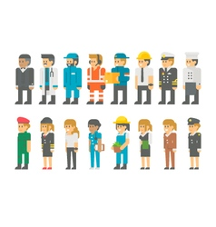 Flat design labor day people set vector image