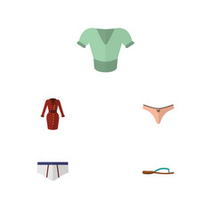 flat icon clothes set of clothes beach sandal vector image