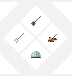 Flat icon garden set of shovel hay fork hothouse vector