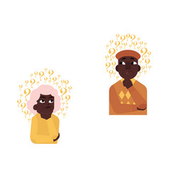 flat old african elderly woman man thinking vector image