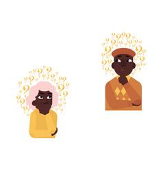 Flat old african elderly woman man thinking vector