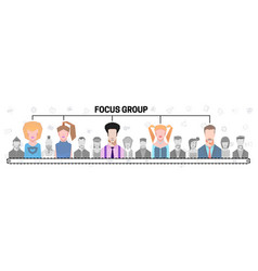 flat people group inside magnifier diagram vector image