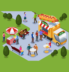 food truck isometric composition vector image