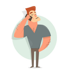 funny and comic guy talking on the phone vector image vector image