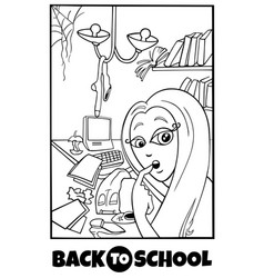 girl and mess back to school cartoon color book vector image