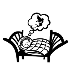 Girl sleeping simple icon vector