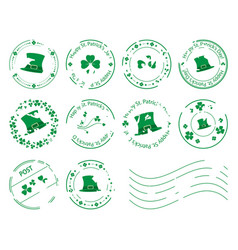 Green postage stamps with clovers for patrick day vector